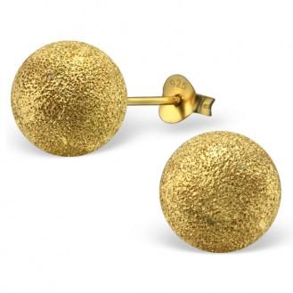 "Stříbrné pozlacené náušnice s rozdrcenými diamanty ""Cometes"". 10x10. gb. Ag 925/1000"