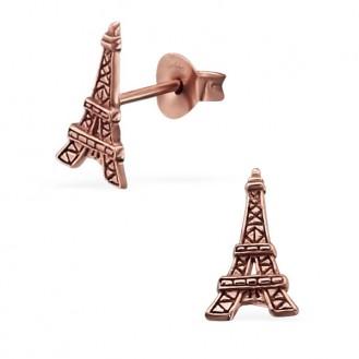 """Stříbrné náušnice pozlacené """"Eiffelova věž"""". Ag 925/1000"""