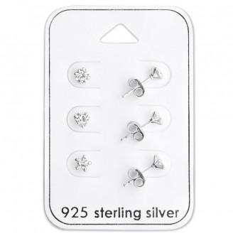 """Souprava dětských stříbrných náušnic """"Figurae"""". Ag 925/1000"""