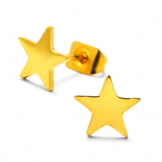 """Pozlacené náušnice z chirurgické oceli """"Zlatá hvězdička"""""""