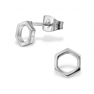 """Náušnice z chirurgické oceli """"Hexagon"""""""