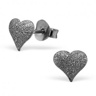 """Stříbrné rutheniové náušnice s rozdrcenými diamanty """"Srdíčka"""". Ag 925/1000"""