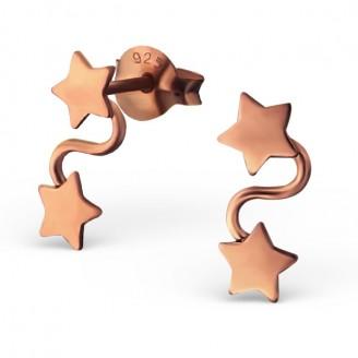 """Stříbrné náušnice pozlacené """"Čtyři hvězdy"""". Ag 925/1000"""