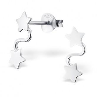 """Stříbrné náušnice """"Čtyři hvězdy"""". Ag 925/1000"""