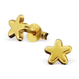 "Stříbrné pozlacené náušnice pecky ""Štastná hvězdička"". Ag 925/1000"