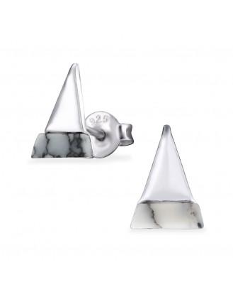 "Stříbrné náušnice pecky s minerálem howlite ""Triangulum"". Ag 925/1000"