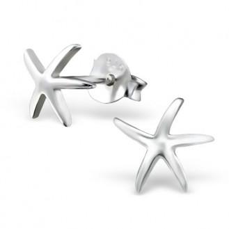 """Stříbrné náušnice s puzetovým uzávěrem """"Mořská hvězdice"""". Ag 925/1000"""