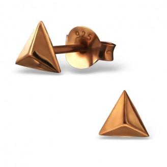 "Stříbrné pozlacené náušnice pecky ""Pyramidy"". Ag 925/1000"