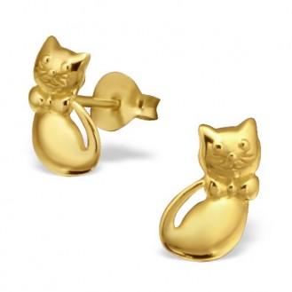 """Stříbrné pozlacené náušnice pecky """"Moje kočička"""". Ag 925/1000"""