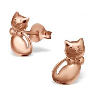 "Stříbrné pozlacené náušnice pecky ""Moje kočička"", růžové. Ag 925/1000"