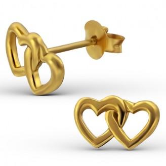 """Stříbrné pozlacené náušnice pecky """"Spojená srdce"""". Ag 925/1000"""