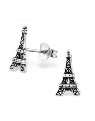 """Stříbrné náušnice na šroubek """"Eiffelova věž"""". ox. Ag 925/1000"""