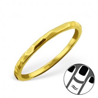 "Pozlacený stříbrný midi prsten ""Rock"". Ag 925/1000"
