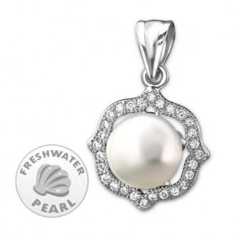 """Stříbrný přívěsek se zirkony a sladkovodní perlou """"Lotos"""". Ag 925/1000"""