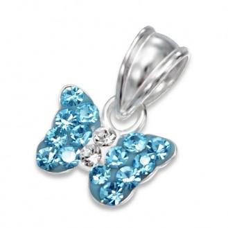 """Stříbrný přívěsek s krystaly """"Motýlek bělásek"""" aquamarin. Ag 925/1000"""