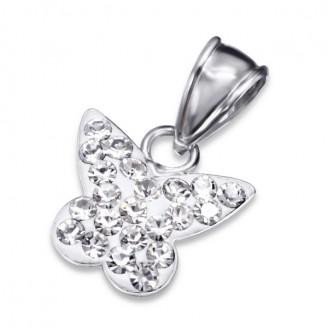 """Dětský stříbrný přívěsek s krystaly """"Motýlek pro štěstí"""". Ag 925/1000"""