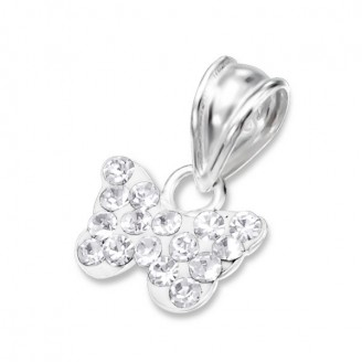 """Stříbrný přívěsek s krystaly """"Motýlek bělásek"""". Ag 925/1000"""