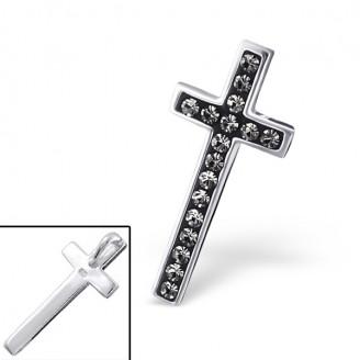 """Stříbrný přívěsek s krystaly """"Křišťálový křížek"""". Ag 925/1000"""