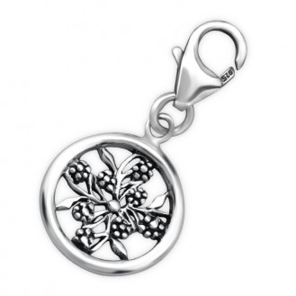 """Stříbrný přívěsek s karabinkou na náramek """"Flower"""". Ag 925/1000"""