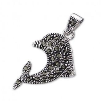 """Stříbrný přívěsek s markazity """"Dolphin"""". Ag 925/1000"""