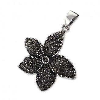 Stříbrný přívěsek Květ s markazity. Ag 925/1000