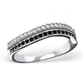 """Stříbrný prsten se zirkony """"Den a noc"""". Ag 925/1000"""