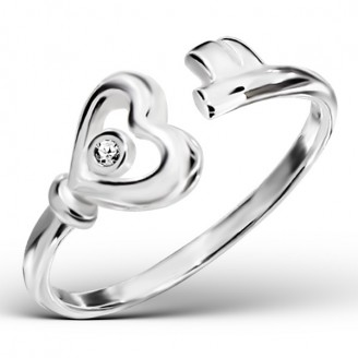 """Stříbrný prsten se zirkonem """"Klíč k srdci"""". Ag 925/1000"""