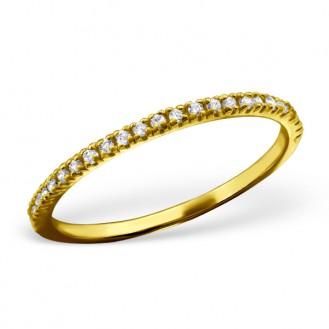 """Pozlacený prsten ze stříbra se zirkony """"Velká láska"""". Ag 925/1000"""