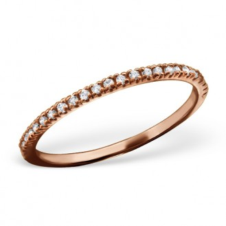 """Stříbrný prsten pozlacený se zirkony """"Velká láska"""" rose. Ag 925/1000"""