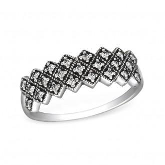 """2x6 Stříbrný prsten se zirkony """"Relevium"""". cry. Ag 925/1000"""