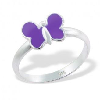 """Dětský stříbrný prsten """"Fialový motýl"""". Ag 925/1000"""