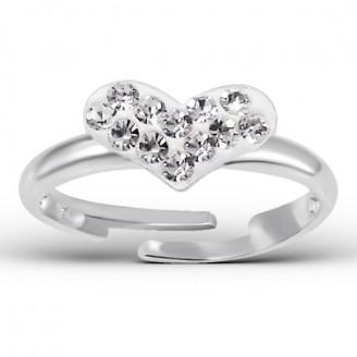 """Dětský stříbrný prsten nastavitelný s krystaly """"Zázračné srdce"""". Ag 925/1000"""