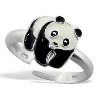 """Dětský stříbrný nastavitelný prstýnek """"Panda"""". Ag 925/1000"""