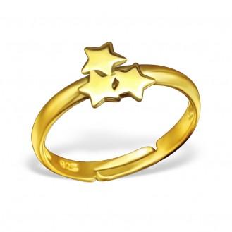 """Stříbrný prsten dětský pozlacený nastavitelný """"Malé hvězdičky"""". Ag 925/1000"""