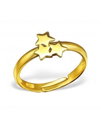 """Dětský stříbrný pozlacený nastavitelný prstýnek """"Malé hvězdičky"""". Ag 925/1000"""