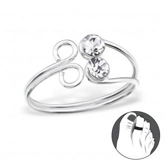 """Stříbrný prsten s krystaly na nohu """"Geminis"""". Ag 925/1000"""