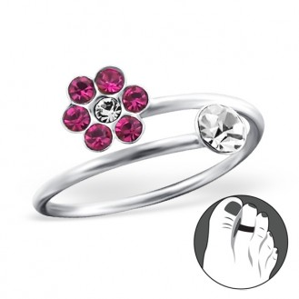"""Stříbrný prsten s krystaly na nohu """"Růžová kytička"""". Ag 925/1000"""