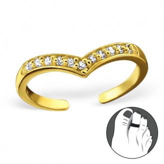 """Pozlacený stříbrný prsten se zirkony na nohu """"Nostris"""" gp. Ag 925/1000"""