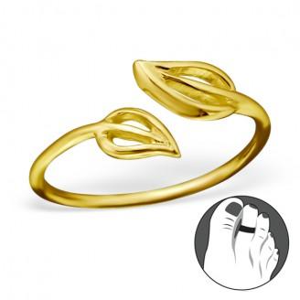"""Pozlacený stříbrný prstýnek na nohu """"Duo"""" gp. Ag 925/1000"""