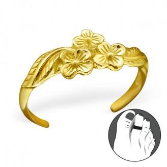 "Pozlacený stříbrný prstýnek na nohu ""Floribus"" gp. Ag 925/1000"