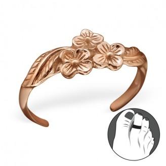 "Pozlacený stříbrný prstýnek na nohu ""Floribus"" rgp. Ag 925/1000"