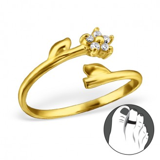 """Pozlacený stříbrný prsten se zirkony na nohu """"Floret"""" gp. Ag 925/1000"""