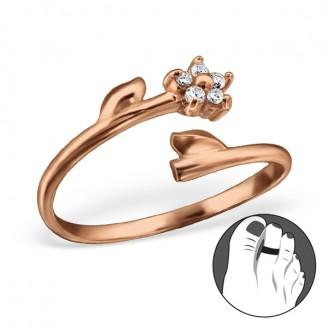 """Pozlacený stříbrný prsten se zirkony na nohu """"Floret"""" rgp. Ag 925/1000"""