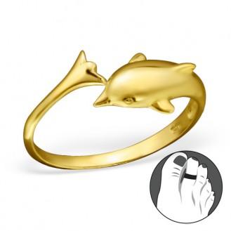"""Pozlacený stříbrný prstýnek na nohu """"Delfín"""" gp. Ag 925/1000"""