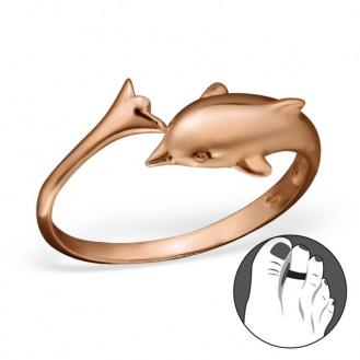 "Pozlacený stříbrný prstýnek na nohu ""Delfín"" rgp. Ag 925/1000"