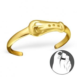 """Pozlacený stříbrný prstýnek na nohu """"Pásek"""" gp. Ag 925/1000"""