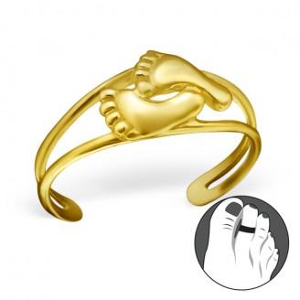 """Pozlacený stříbrný prstýnek na nohu """"Sexy nohy"""" gp. Ag 925/1000"""