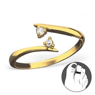 """Pozlacený stříbrný prsten se zirkony na nohu """"Duet"""" gp. Ag 925/1000"""