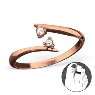 """Pozlacený stříbrný prsten se zirkony na nohu """"Duet"""" rgp. Ag 925/1000"""