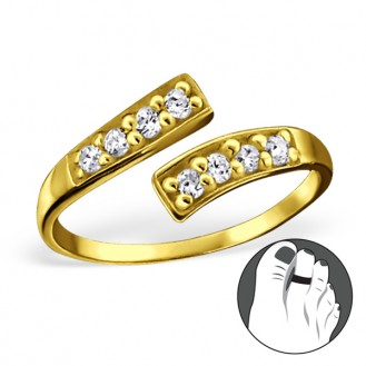 """Pozlacený stříbrný prsten se zirkony na nohu """"Nostri"""" gp. Ag 925/1000"""